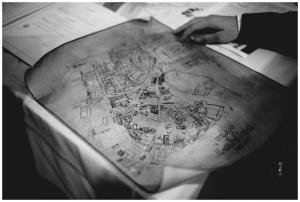 Ręcznie wykonana na potrzeby larpa mapa lubelskiej starówki